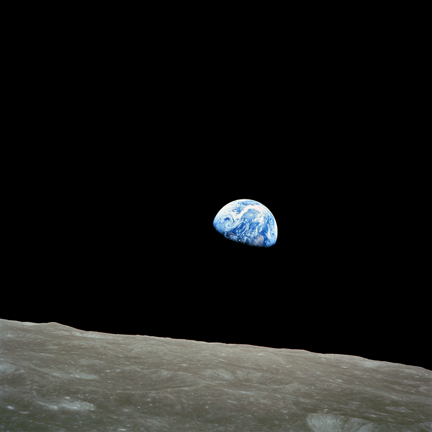 Earth rising over the moon as seen by Apollo 8 astronauts.  Photo AS8-14-2383.