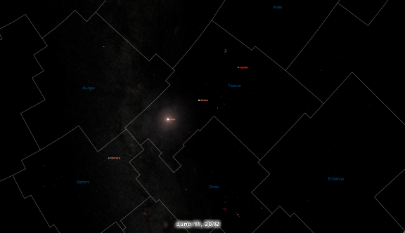 Skychart on June 11, 2012 Showing Jupiter's Location