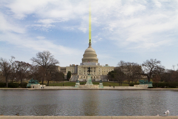 Beam of Yellow Greed Energy from the US Capitol Building