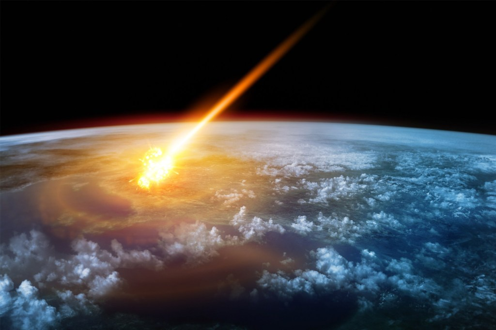 Artistic Rendering of Asteroid Impacting Earth